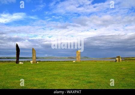 The Neolithic standing Stones Of Stenness - Stock Photo