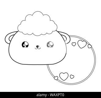 cute sheep baby animal kawaii style vector illustration design - Stock Photo
