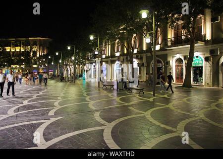 Baku, Azerbaijan - 14 Jul 2013. The street in Baku city, Azerbaijan, night - Stock Photo