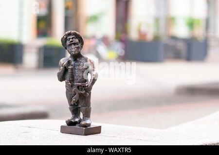 Wroclaw dwarf, gnome in Wroclaw main square. Poland - Stock Photo