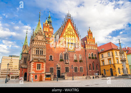 Wroclaw, Poland, October 2017. View of main square and city hall. - Stock Photo