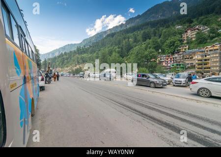 Kullu, Himachal Pradesh, India - May 29, 2019 : Road in himalayas - - Stock Photo