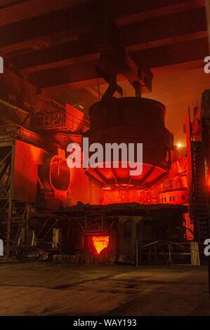 Blast furnace interior with steelmaking in progress. Please credit: Phillip Roberts