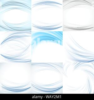 Set of abstract blue backgrounds vector - Stock Photo