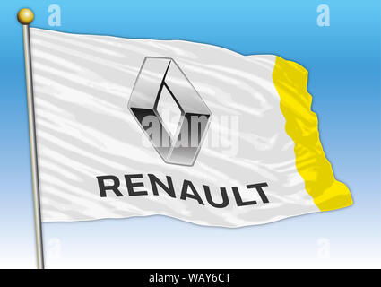 Renault international car industrial group, flag with logo, illustration - Stock Photo
