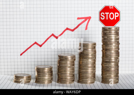 Red Stop Caution On Stack Of Coins Showing Growth In Profit - Stock Photo