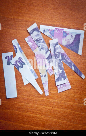 concept for Czech currency devaluation or economic crisis - Stock Photo