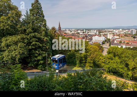 Freiburg in Breisgau, cable car, Castle Mountain Railway, on the castle hill, - Stock Photo