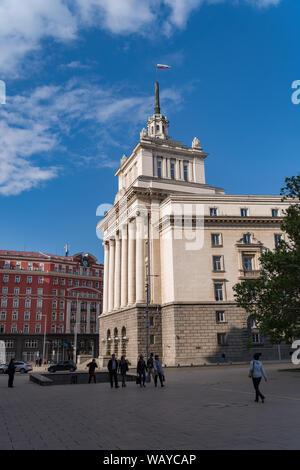Sofia, Bulgaria - May 3, 2019:  View to National Assembly building from Atanas Burov Square. Sofia, Bulgaria - Stock Photo