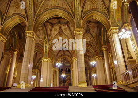 Budapest, Hungary - May 19, 2010:  Interior of Hungarian Parliament Building. Is the seat of the National Assembly of Hungary and a popular tourist de - Stock Photo