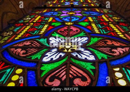 Budapest, Hungary - May 19, 2010:  Stained glass window closeup in Roman Catholic Matthias Church. Budapest, Hungary - Stock Photo