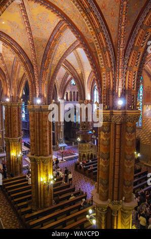 Budapest, Hungary - May 19, 2010: Interior of  Roman Catholic Matthias Church. - Stock Photo