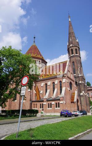 Budapest, Hungary - May 19, 2010:   The Buda Calvinist Church - Stock Photo