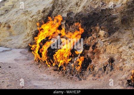 Yanar Dag is the natural fire in Azerbaijan - Stock Photo