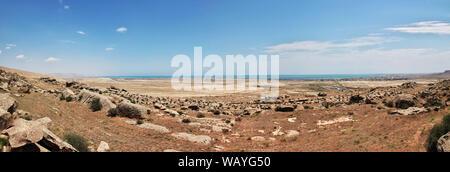 Gobustan is park of petroglyphs in Azerbaijan - Stock Photo