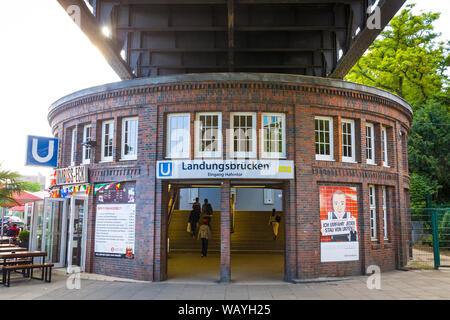 Facade of Landungsbruecken U-Bahn Station in Hamburg city, Germany - Stock Photo