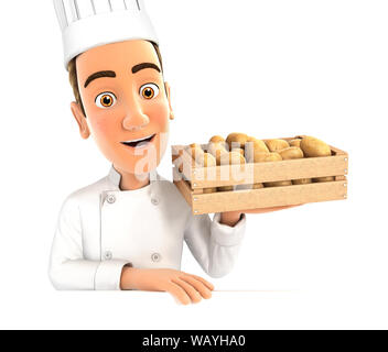 3d head chef holding wooden crate of potatoes, illustration with isolated white background - Stock Photo
