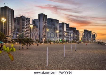 Coast of Fortaleza - Ceará - Brazil. Iracema Beach. Lots of buildings. Sunset. - Stock Photo