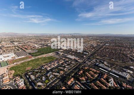 Aerial cityscape view of the suburban Summerlin in scenic Las Vegas, Nevada. - Stock Photo