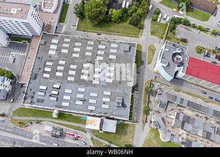aerial top view of urban industrial area. drone photography - Stock Photo