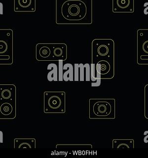 Neon color speakers seamless pattern - Stock Photo