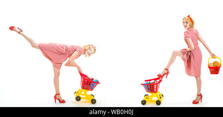 savings on purchases. retro women go shopping with full cart. happy shopping girls with full cart. online shopping app. vintage housewife women going - Stock Photo