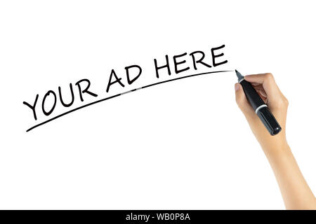 hand writing word Your Ad Here with black color marker pen isolated on white background. space of advertising for marketing concept - Stock Photo