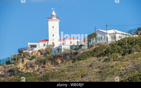 Mossel Bay, South Africa - on a clear summer day a seabird flies over the Cape St Blaize lighthouse on a hill above the town image in landscape format