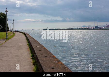 Dublin Port seen across Dublin Bay from Clontarf, Co. Dublin, Ireland