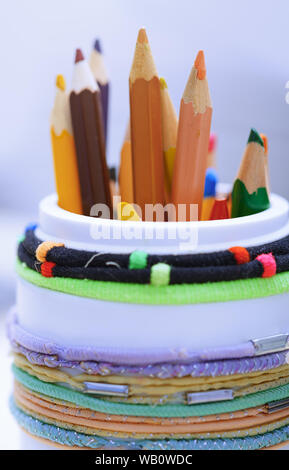 Color pencils in the plastic jar. Close-up - Stock Photo