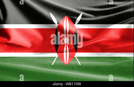 Realistic flag of Kenya on the wavy surface of fabric - Stock Photo
