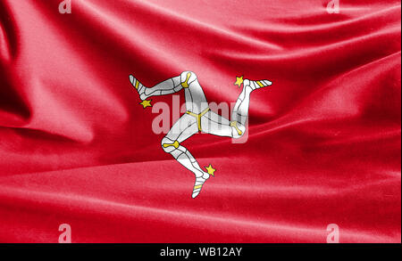 Realistic flag of Isle Of Man on the wavy surface of fabric - Stock Photo