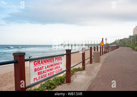 DURBAN SOUTH AFRICA - AUGUST 14 2019: Grannies Pool at the beach and promenade in Umhlanga Rocks near Durban KwaZulu-Natal South Africa - Stock Photo