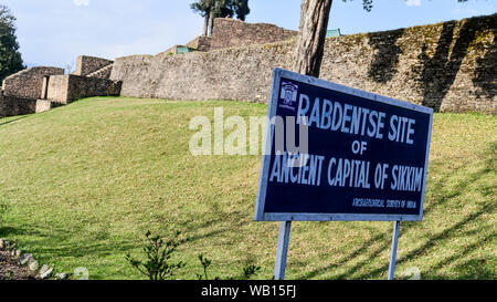Rabdentse ruins, Kingdom of Sikkim, Pelling 1 May 2018 - Rabdentse Ruins, a destroyed capital city and Buddhist religious pilgrimage circuit. Declared - Stock Photo