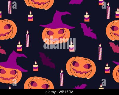 Halloween seamless pattern with pumpkins, candles and bats. Celebration background for promotional materials, print and wrapping paper. Vector illustr - Stock Photo