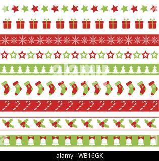 Christmas seamless vector borders - Stock Photo