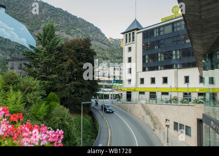 Andorra La Vella, Andorra : 2019 August 22 : Beautiful view of Placa del Poble in Andorra La Vella, capital of Andorra. - Stock Photo