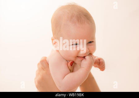 Best mom. Family. Child care. Childrens day. Sweet little baby. New life and baby birth. Small girl with cute face. parenting. Portrait of happy littl - Stock Photo