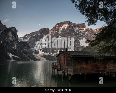 taly, South Tyrol, Dolomites, Lago di Braies, Fanes-Sennes-Prags Nature Park in the morning light - Stock Photo
