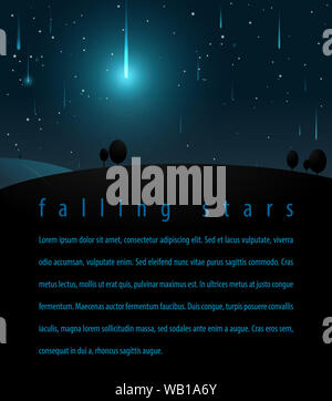 Falling stars in the night starry sky. Vector illustration for posters, flyers, print Webdesign - Stock Photo