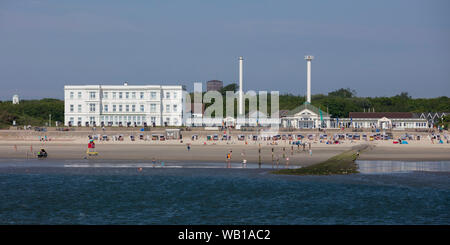 Germany, Lower Saxony, East Frisia, Norderney, West beach and Haus am Weststrand - Stock Photo