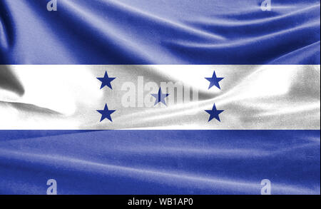 Realistic flag of Honduras on the wavy surface of fabric - Stock Photo