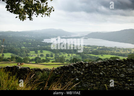Lake Windermere from Wansfell Pike - Stock Photo