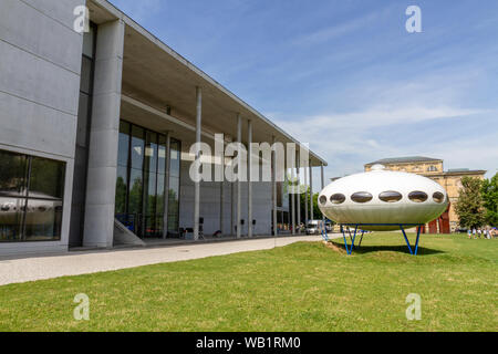 The 'Das Futuro-Haus' (Futuro house), a round, prefabricated house designed by Matti Suuronen, Pinakothek der Moderne, Munich, Bavaria, Germany. - Stock Photo