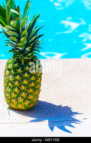 A pineapple on the edge of a pool. Summer food concept, healthy and fresh - Stock Photo