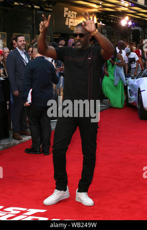 The Special Screening of 'Fast & Furious: Hobbs & Shaw' held at the Curzon Mayfair - Arrivals Featuring: Idris Elba Where: London, United Kingdom When: 23 Jul 2019 Credit: Mario Mitsis/WENN.com - Stock Photo