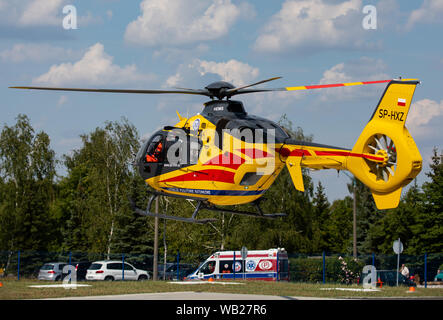 Poland, Czestochowa - 06 August 2019: Air Ambulance (LPR) in action at the airstrip.  Helicopter ec-135 and  air ambulance in rescue. - Stock Photo