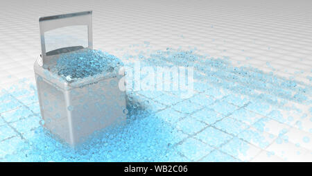 White clothes washing machine with the door open on top of which blue round bubbles overflowing the floor of white squares overflow. 3D Illustration - Stock Photo