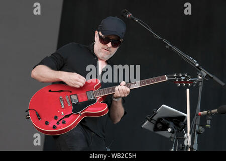 Portsmouth, Hampshire, UK. August 23rd 2019. Guitarist and vocalist Jez Williams with The Doves performing live on stage at Victorious Festival, Portsmouth, Hampshire UK Credit: Dawn Fletcher-Park/Alamy Live News - Stock Photo