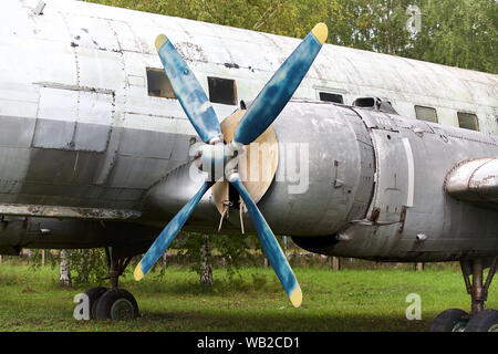 Elements of the old Soviet military plane close-up. - Stock Photo